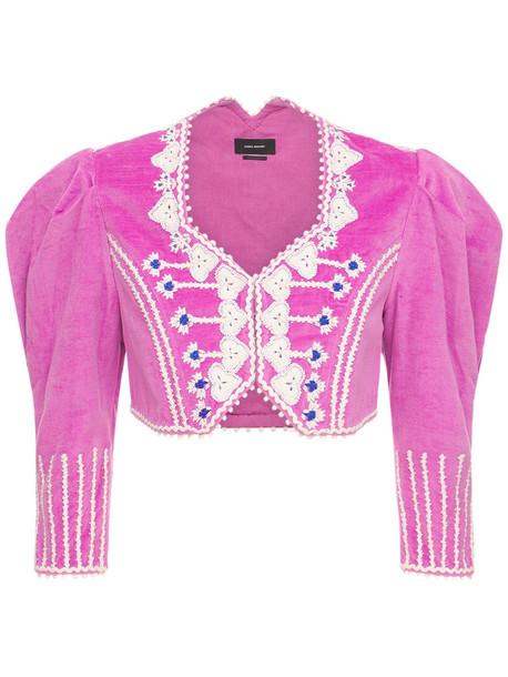 ISABEL MARANT Cidela Embroidered Velvet Crop Jacket in fuchsia