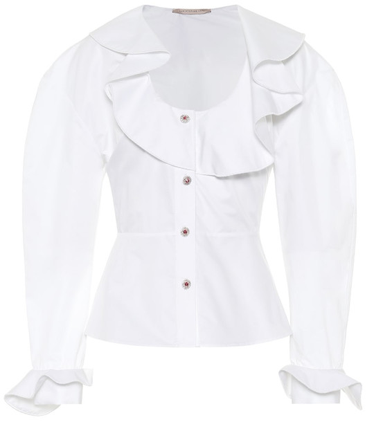 Christopher Kane Ruffled cotton blouse in white