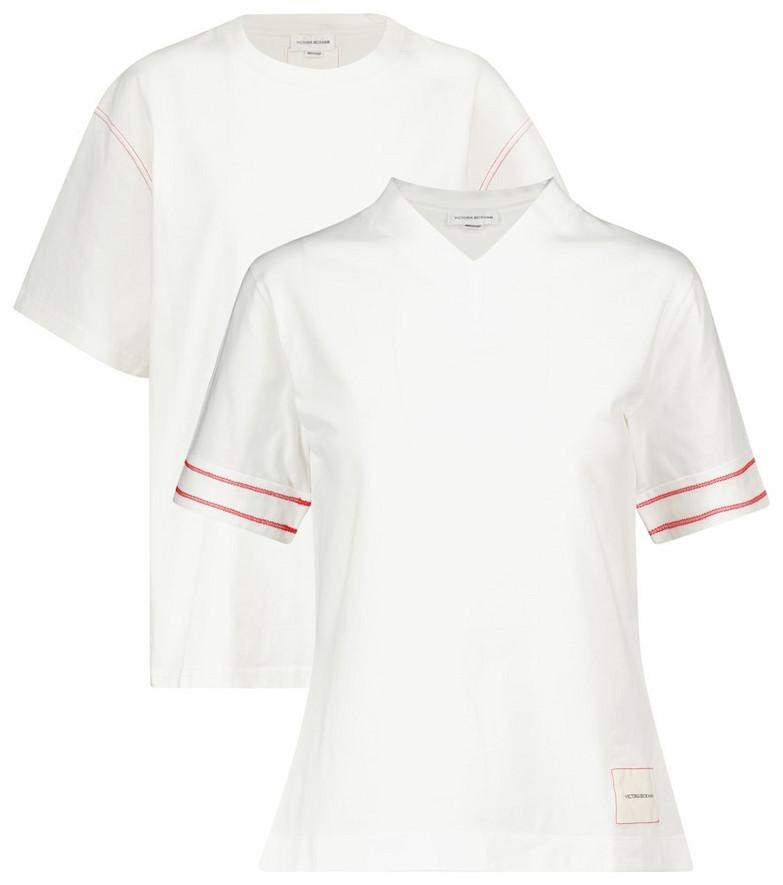 Victoria Beckham Set of 2 cotton jersey T-shirts in white