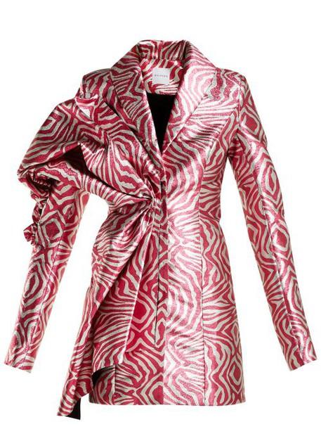 Halpern - Zebra Print Lamé Mini Dress - Womens - Pink Multi