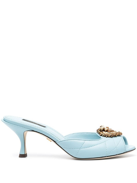 Dolce & Gabbana Lori Devotion quilted bejewelled mules in blue