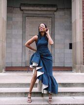 dress,asymmetrical dress,midi dress,ruffle dress,sleeveless dress,black sandals