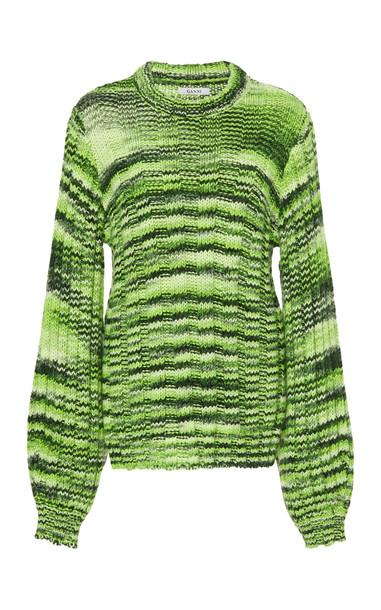 Ganni Balloon-Sleeve Melange Sweater Size: M