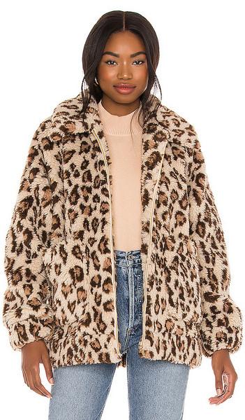 Show Me Your Mumu Cordelia Faux Fur Jacket in Beige, Brown in leopard