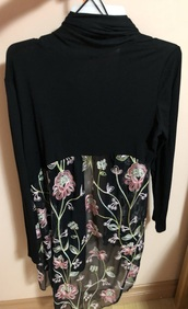 cardigan,black and pink,long sleeves,floral,net