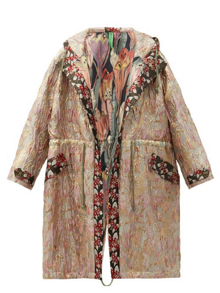 Rianna + Nina Rianna + Nina - Vintage Hooded Drawstring Floral-brocade Parka - Womens - Multi
