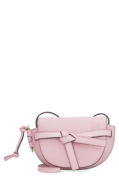 Loewe Mini Gate Leather Shoulder Bag in pink