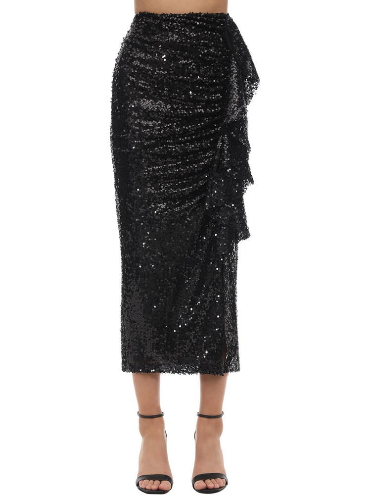 IN THE MOOD FOR LOVE High Waist Sequined Midi Skirt in black