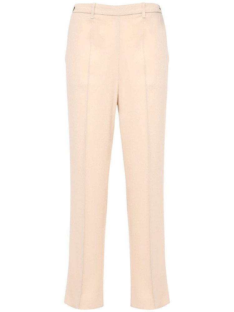 FORTE FORTE Crepe Satin Straight Pants in ivory