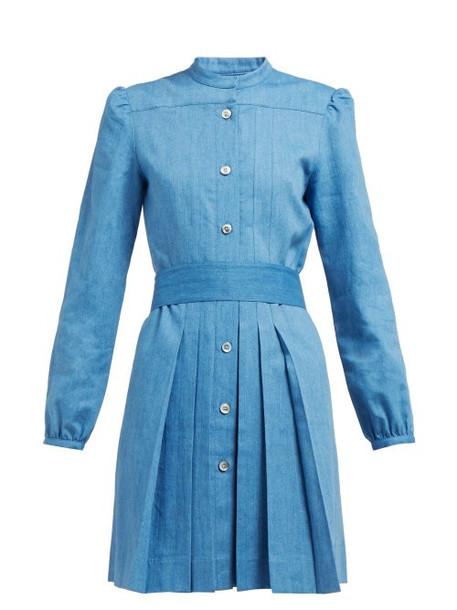 A.P.C. A.p.c. - Alba Pleated Denim Dress - Womens - Blue