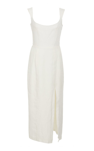 Markarian Exclusive Jeanne Linen Midi Dress Size: 0 in white