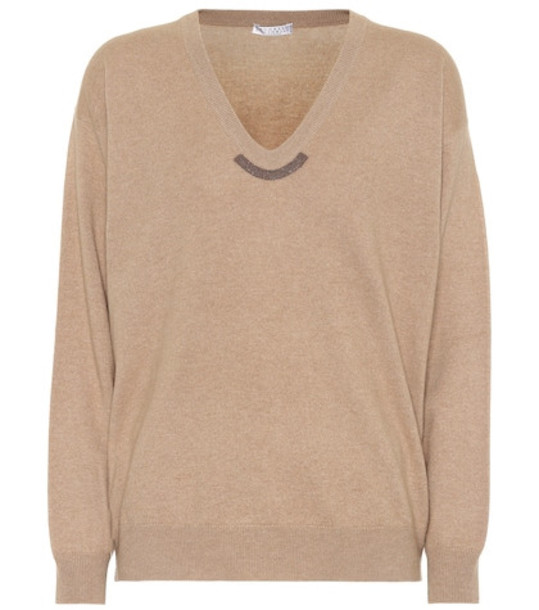 Brunello Cucinelli Wool, cashmere and silk sweater in beige / beige