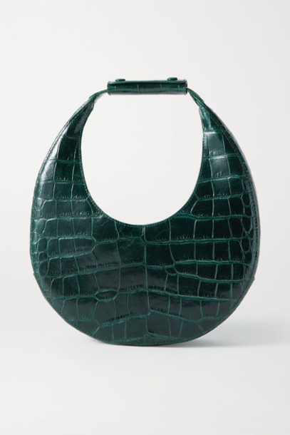 STAUD - Moon Croc-effect Leather Tote - Emerald