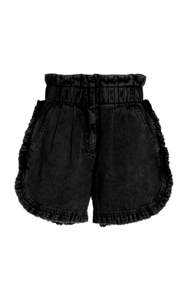Sea Idun Denim Ruffle Shorts in black