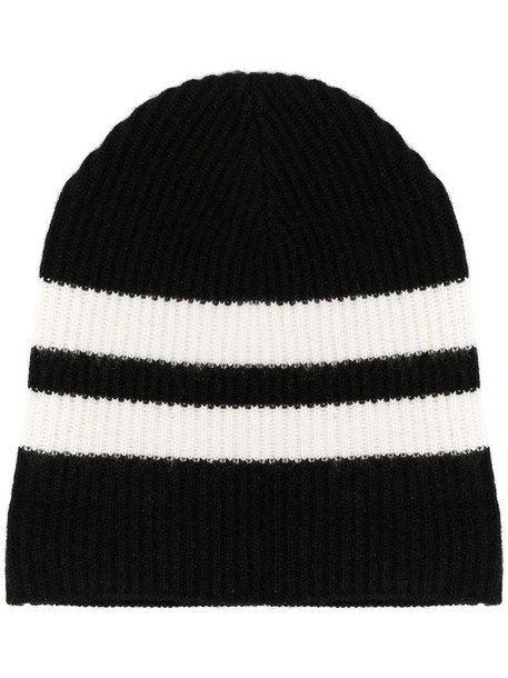 Cashmere In Love striped ribbed-knit beanie in black