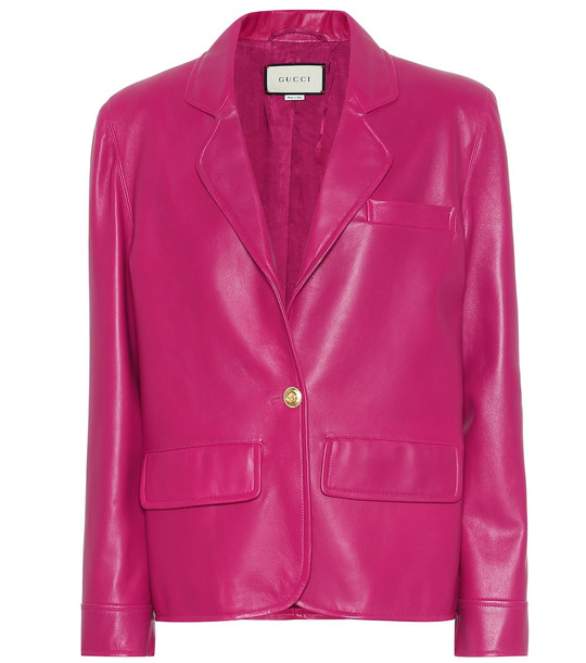 Gucci Leather blazer in pink