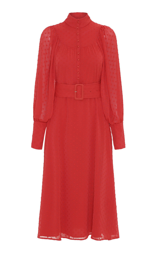 ROTATE Belted Fil Coupé Midi Dress in red
