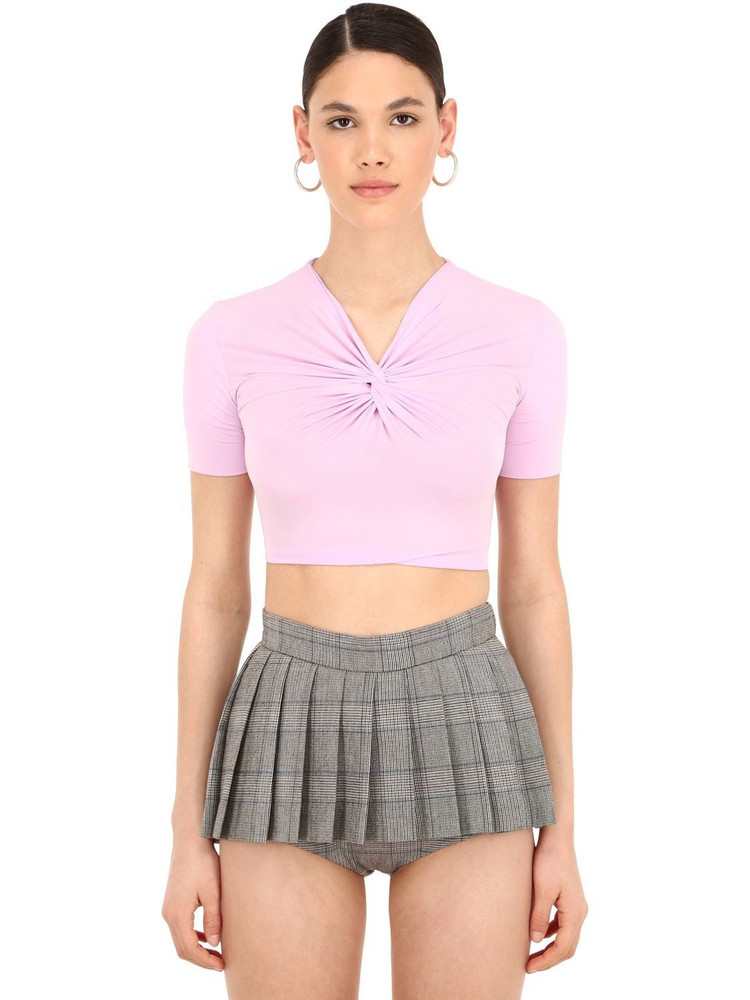 PUSHBUTTON Knotted Stretch Jersey Crop Top in lilac