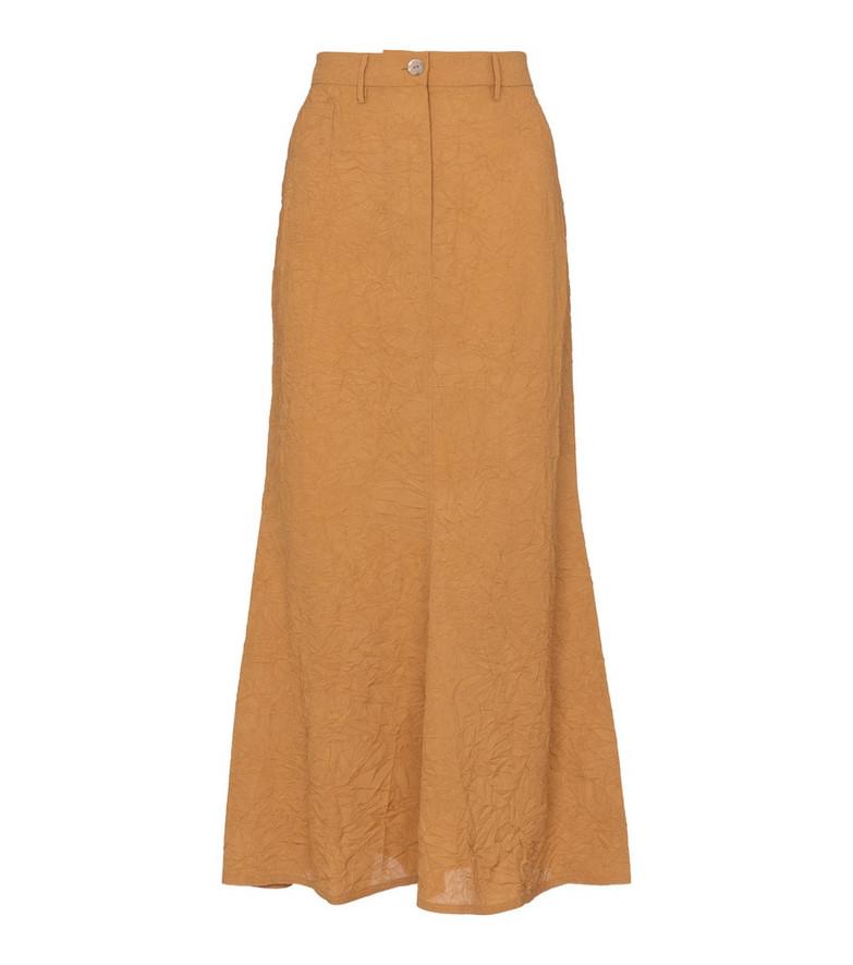 Nanushka Bri crinkled sateen midi skirt in beige