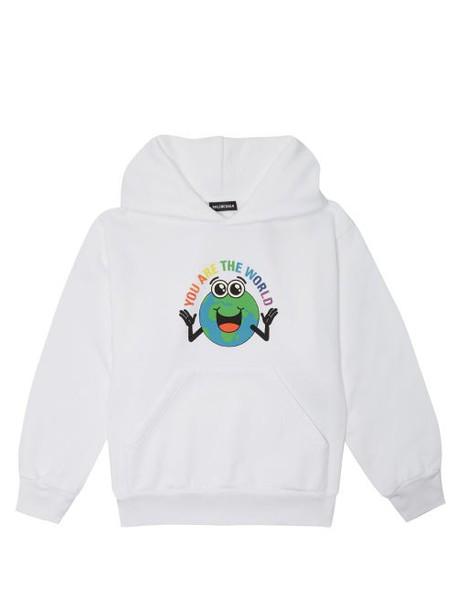 Balenciaga Kids - You Are The World Print Cotton Hooded Sweatshirt - Womens - White Multi