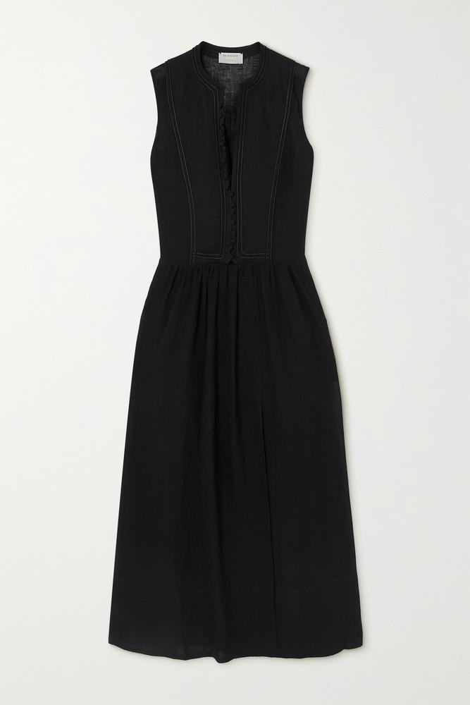 ZEUS + DIONE ZEUS + DIONE - Fermeli Embroidered Linen-blend Midi Dress - Black