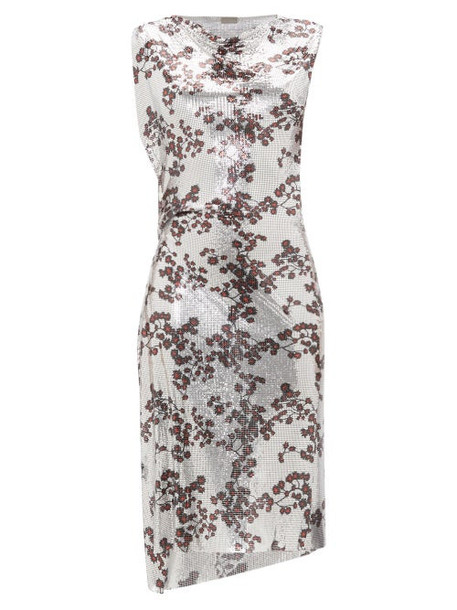 Paco Rabanne - Cowl Neck Floral Print Chainmail Dress - Womens - Silver Multi