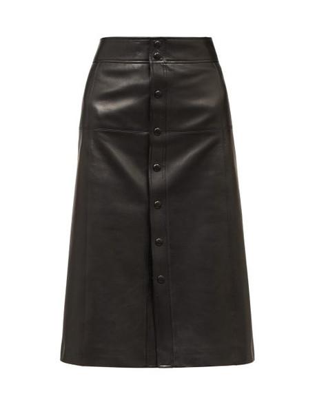 Saint Laurent - A-line Leather Skirt - Womens - Black