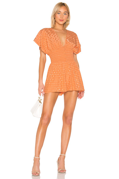 Tularosa Eleanor Romper in coral