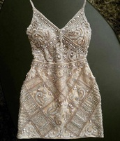 dress,beaded,white and tan colored