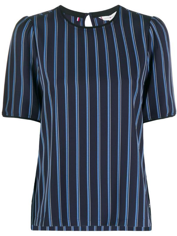 Tommy Hilfiger stripe-print crew neck blouse in blue