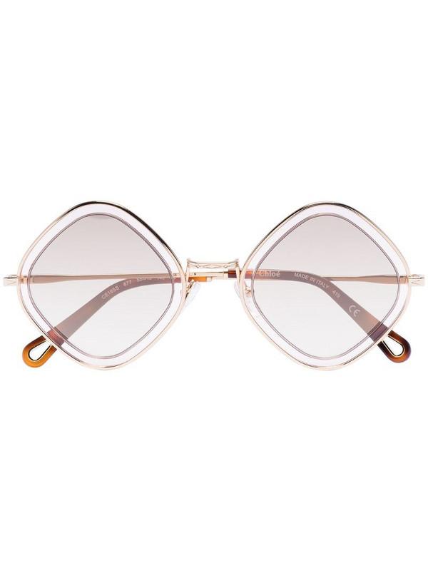 Chloé Eyewear Poppy diamond-frame sunglasses in gold