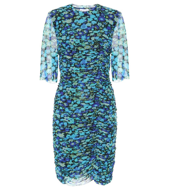 Ganni Floral mesh minidress in blue