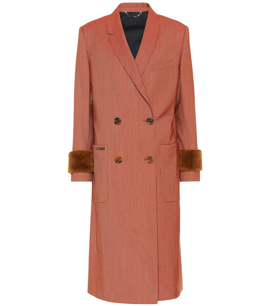 Fendi Shearling-trimmed wool-blend coat in orange