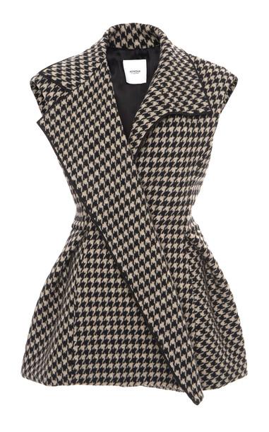 Agnona Asymmetric Wool-Cashmere Vest in black