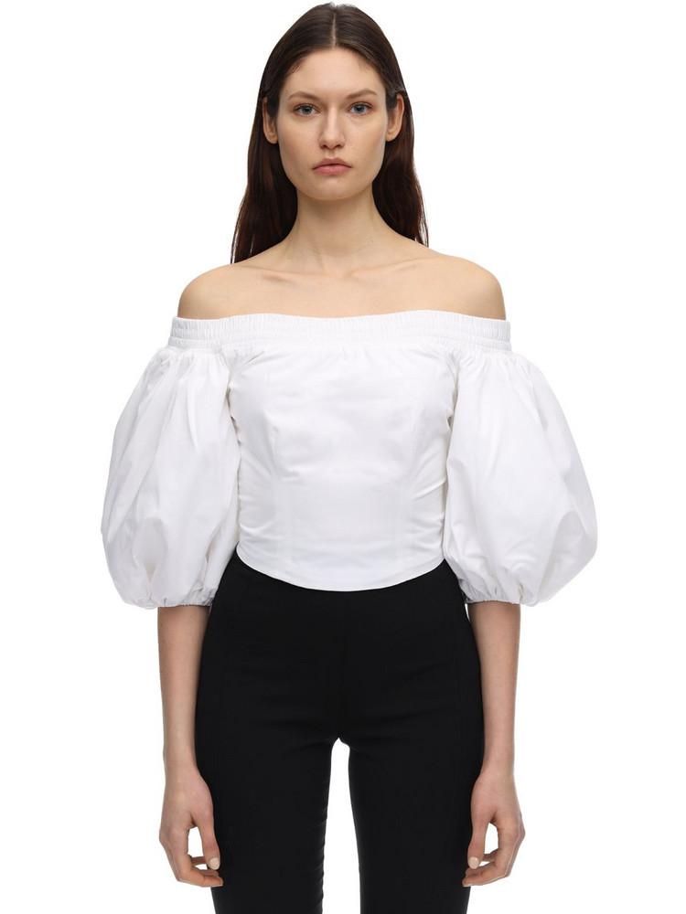 AMEN Cropped Cotton Poplin Top in white