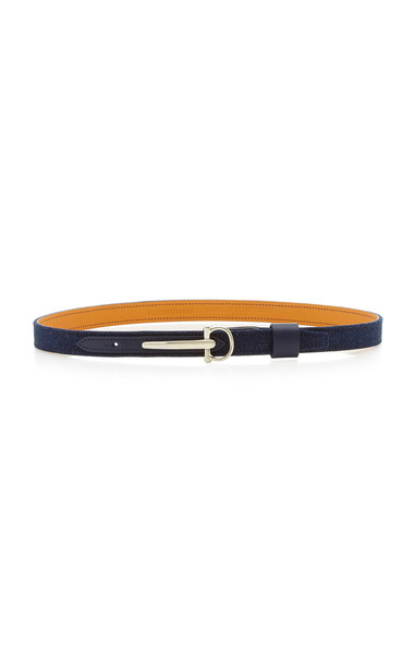 Maison Vaincourt Skinny Denim Belt in navy