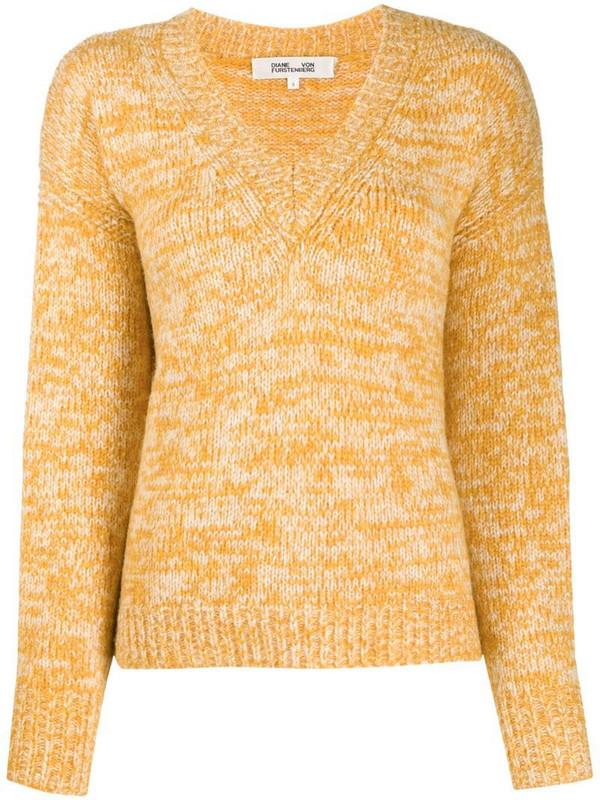 DVF Diane von Furstenberg V-neck sweater in yellow