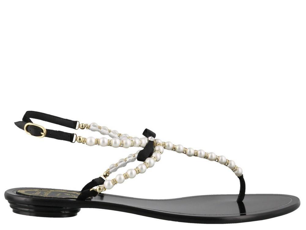 René Caovilla Thong Sandals in black