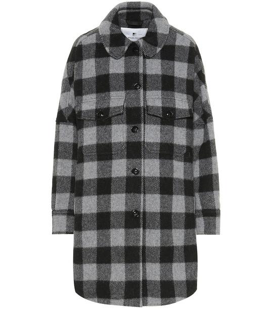 Woolrich W's Buffalo checked wool-blend jacket in grey