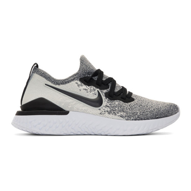 Nike White & Black Epic React Flyknit 2 Sneakers