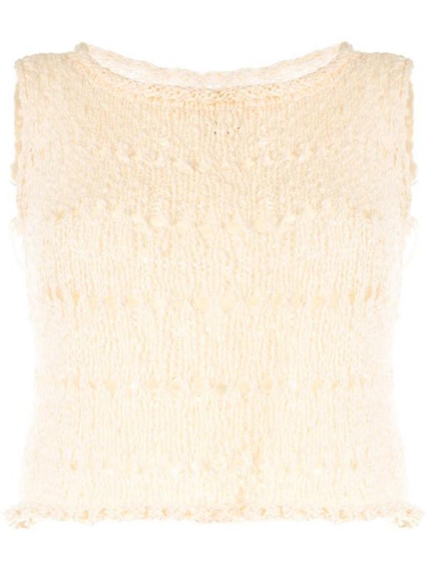 VOZ knitted crop top in neutrals