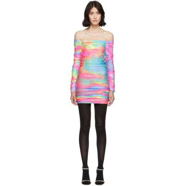 Sies Marjan Multicolor Tie-Dye Glitter Jolene Off-Shoulder Dress in multi
