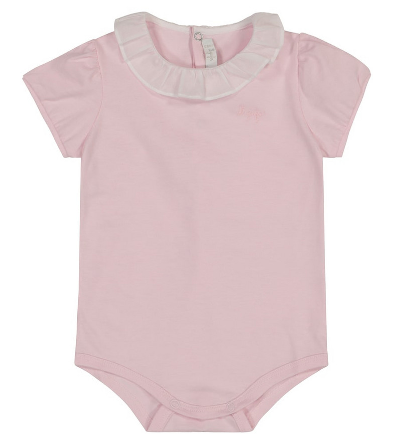 Il Gufo Ruffle-trimmed cotton playsuit in pink