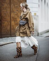 jacket,oversized jacket,knee high boots,h&m,white dress,asymmetrical dress,dior bag