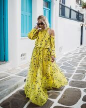 dress,maxi dress,yellow dress,pleated dress,off the shoulder dress