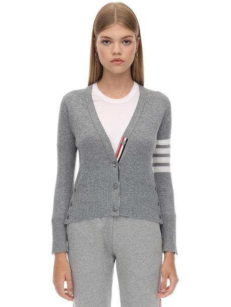 THOM BROWNE Intarsia Stripes Cashmere Knit Cardigan in grey
