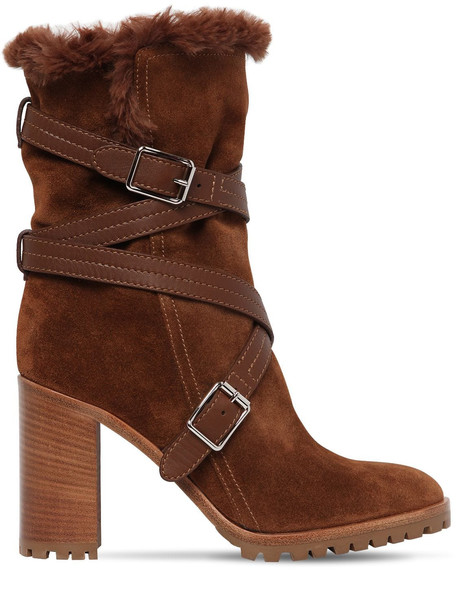 GIANVITO ROSSI 85mm Suede & Faux Fur Ankle Boots in tan