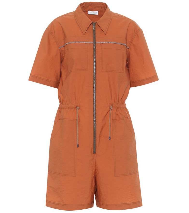 Brunello Cucinelli Exclusive to Mytheresa – Embellished cotton-blend playsuit in orange