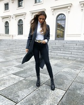 coat,long coat,grey coat,trench coat,chanel boots,lace up boots,black skinny jeans,gucci belt,white turtleneck top