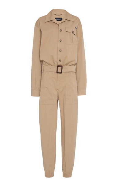 Dolce & Gabbana Belted Stretch-Cotton Jumpsuit in neutral